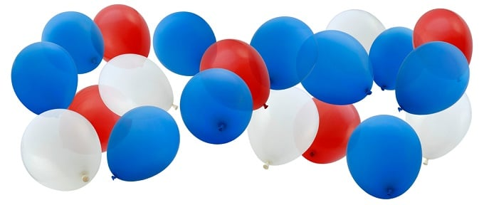 """Red, White, and Blue Balloons on White."""