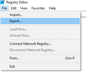 Making a Windows Registry Backup