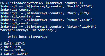 PowerShell_Multidimesional arrays