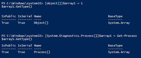 PowerShell_Variables_Define systems processes as array members