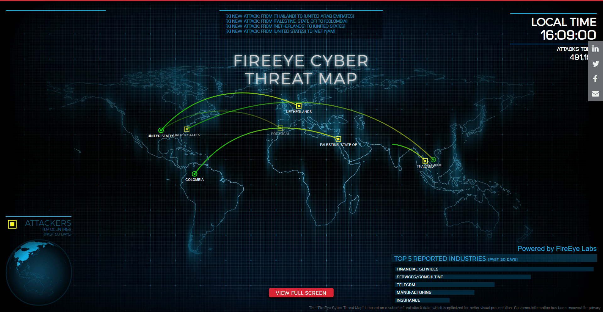Cyber Attack Map by FireEye