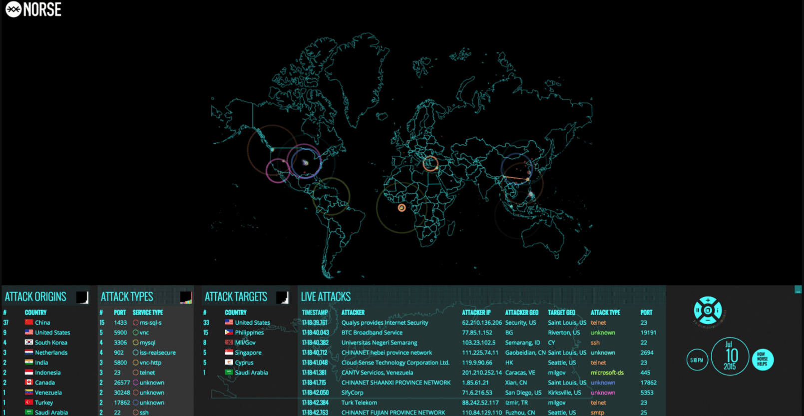 Cyber Attack Map by Norse