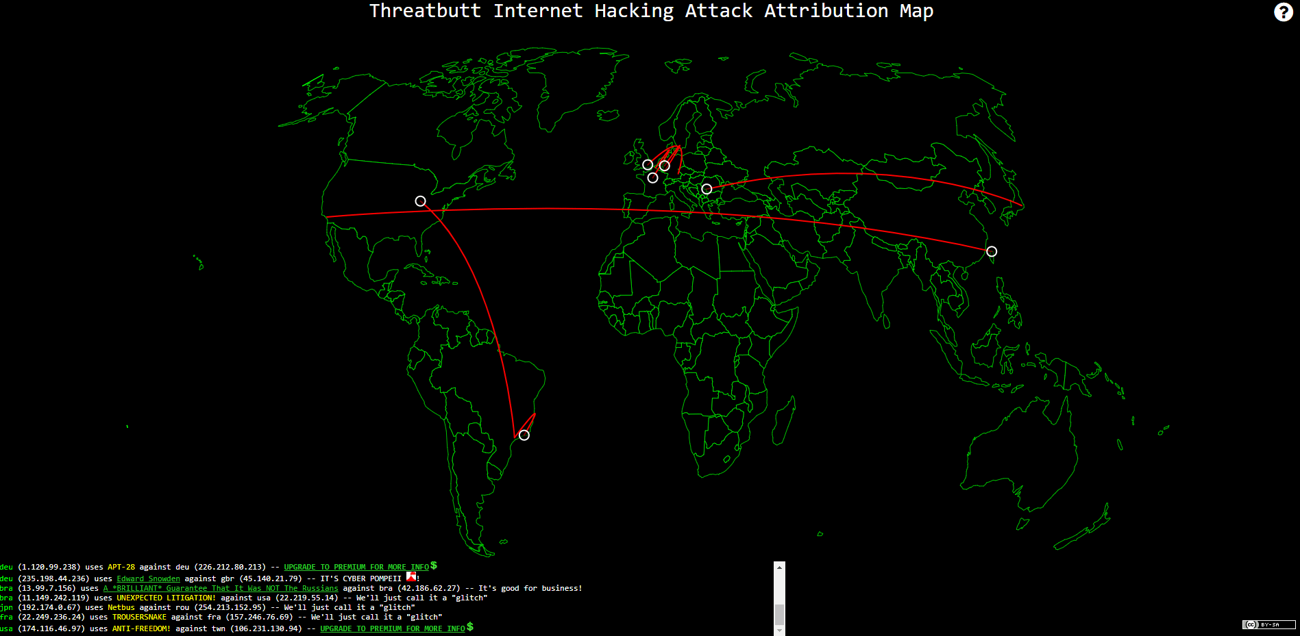 Cyber Attack Map by Threatbutt