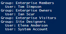 Getting a Lists of Groups and Their Members for a Particular SharePoint Site