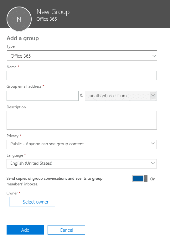 Office 365 Groups Adding a New Group