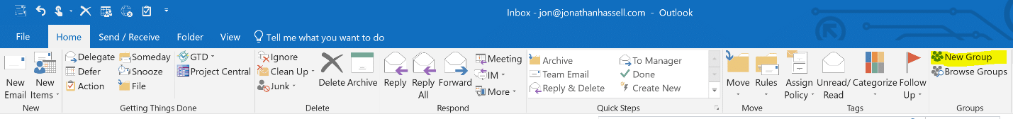 Office 365 Groups Users Add a New Group from Outlook