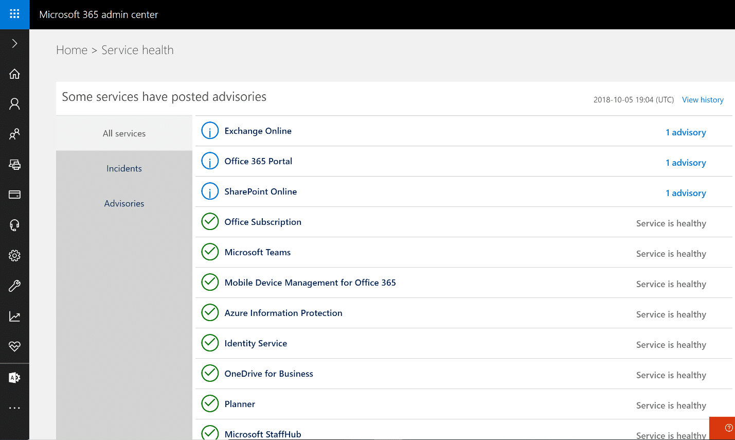 Office 365 Troubleshooting The Service Health Dashboard