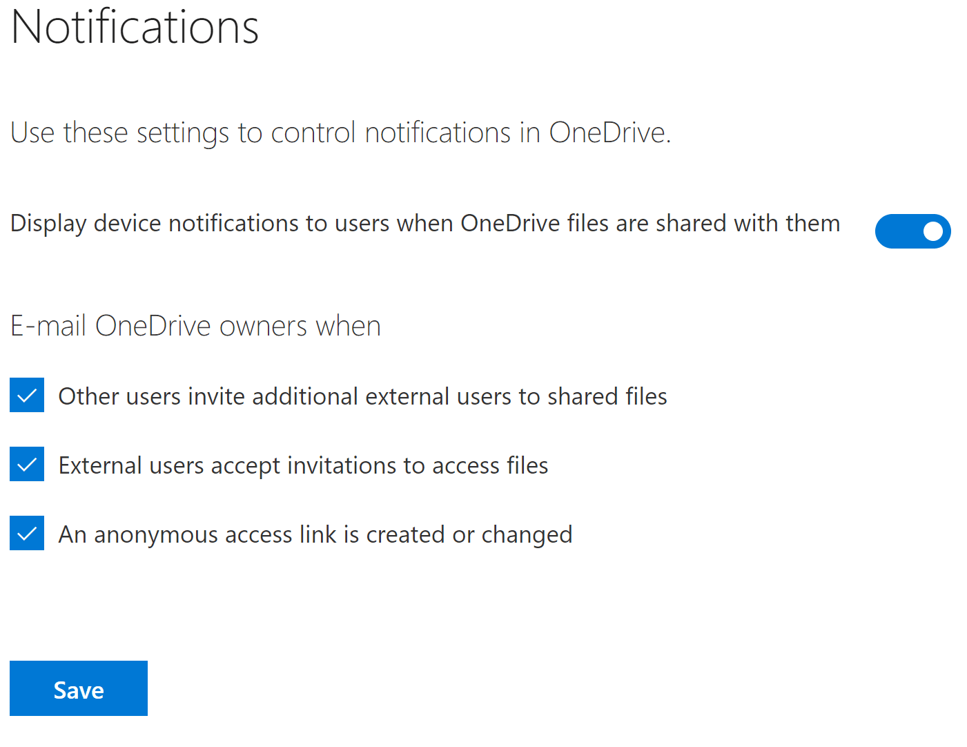 Configuring OneDrive for Business Notifications