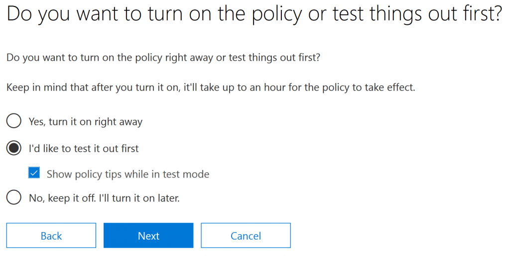 Managing Office 365 DLP Activating the Policy