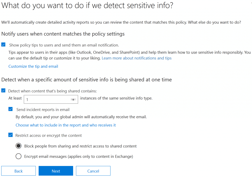 Managing Office 365 DLP Configuring Actions Upon Triggering a DLP Policy