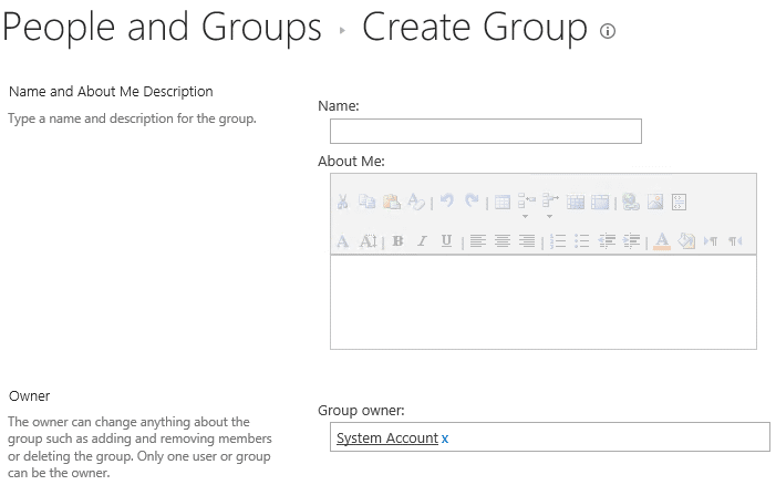 Creating a SharePoint Group