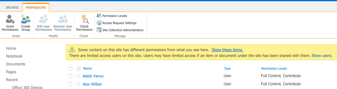 Editing SharePoint Permissions