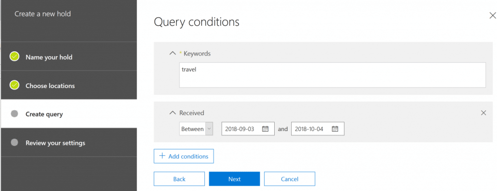 eDiscovery in Office 365 Specifying Query Conditions