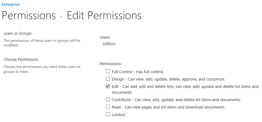 Editing SharePoint Item-Level Permissions