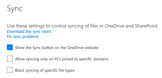 OneDrive for Business Restricting Syncing