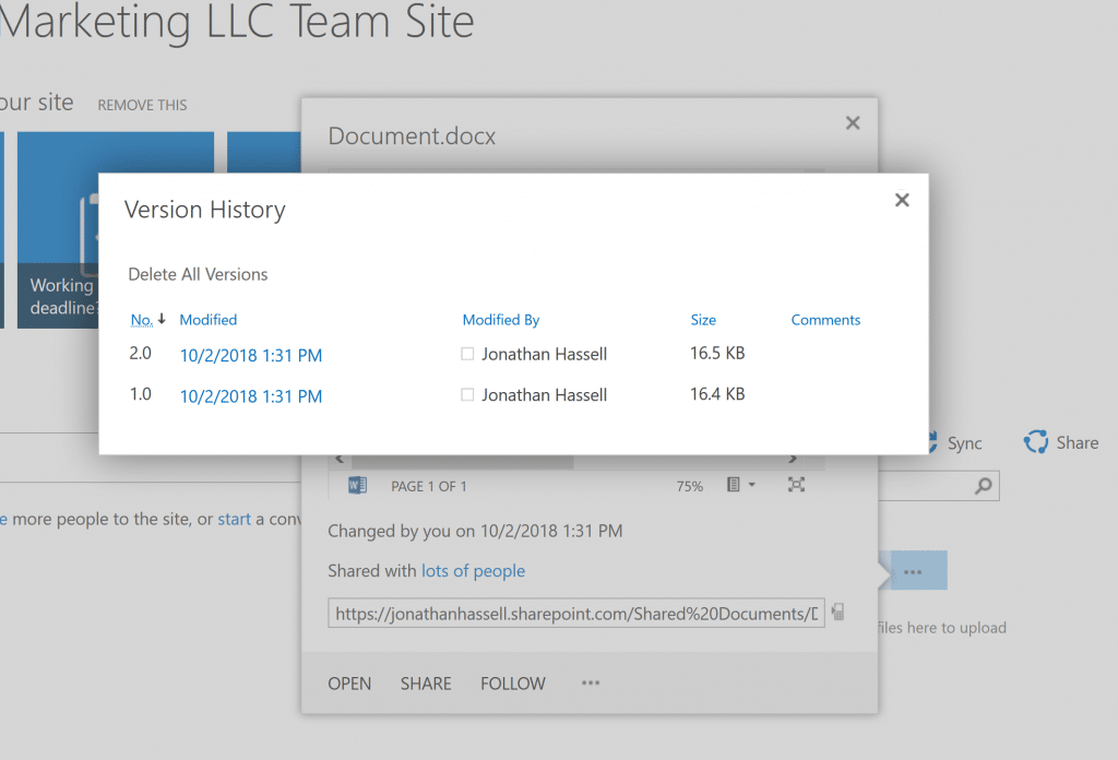 SharePoint Online Administration Accessing an Older Version of a File in a SharePoint Online Document Library