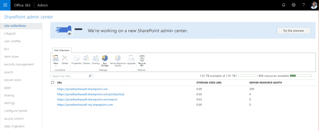 SharePoint Online Administration Center