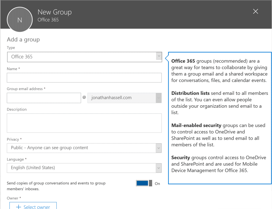 SharePoint Online Administration Creating a New Group