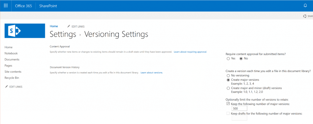 SharePoint Online Administration Versioning Settings for a Document Library
