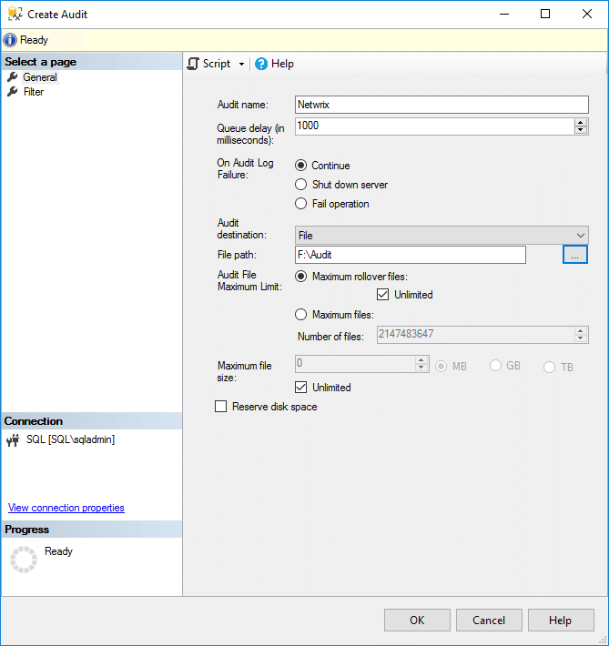 SQL Server Audit Creating a server-level SQL Server audit object