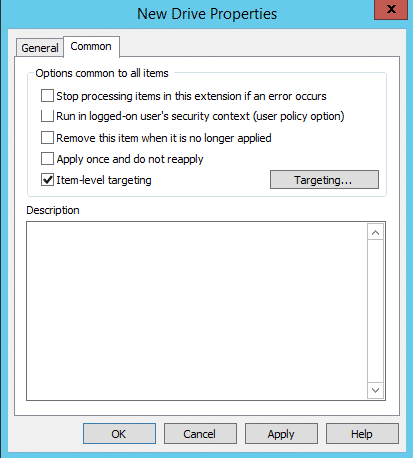 Group Policy Drive Mapping Configuring Additional Settings for All Items