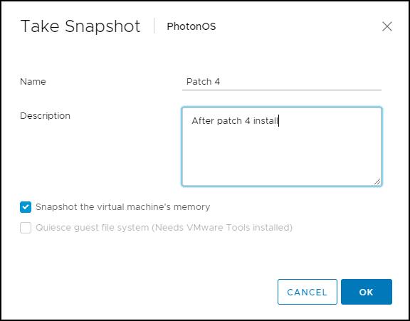 Adding description to VMware vSphere snapshot