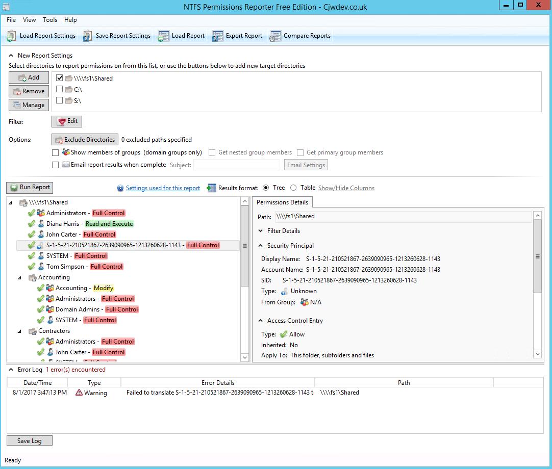 NTFS Permissions Tools Reporter1
