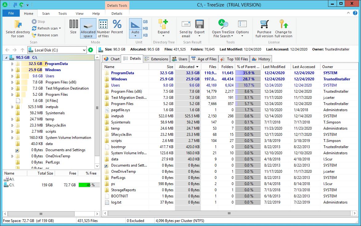 Paid NTFS Permissions Tools_TreeSize